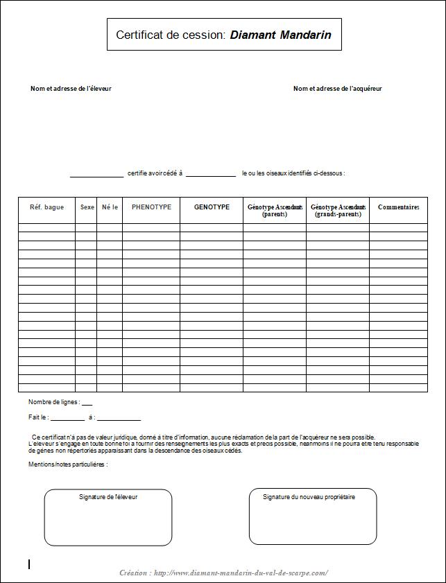 Certificat de cession diamant mandarin 3
