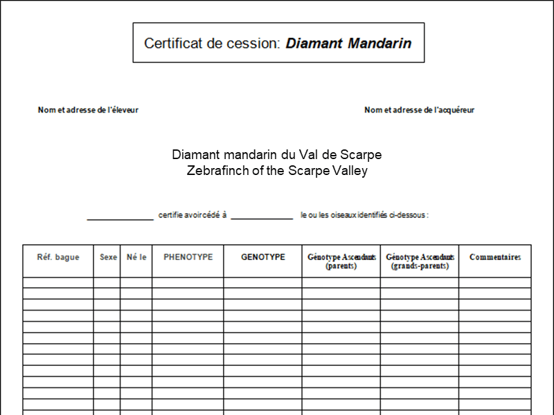 Certificat de cession diamant mandarin
