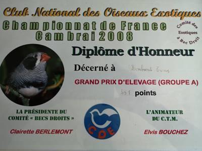 Diplome d honneur grand prix d elevage